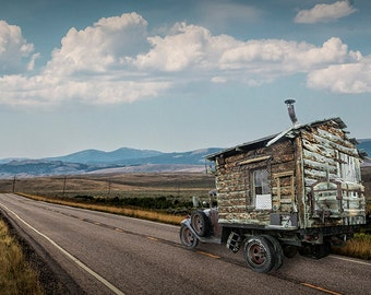 Old Vintage Truck Motor Home Recreational Vehicle near Yellowstone National Park No.041 Vintage Auto Western Landscape Fine Art Photography