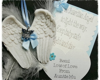 Guardian Angel, Angel Wings, Hanging Angel, nursery gift, memorial gift, bereavement, Angel Wings Ornament Gift Set