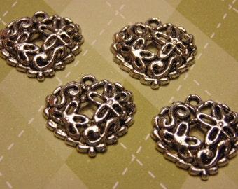 4 large tibetan silver heart flower charms, 20 mm