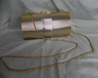 1960's  or 1970's Gold Hardshell Formal Clutch Purse Evening Bag Shoulder Bag