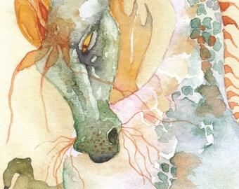 APPLE DRAGON greeting card watercolor spiritual MYSTICAL animal