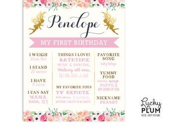First Birthday Board / Fairy Birthday Board / Flower Birthday Board / Woodland Birthday Board / *Digital file FY01