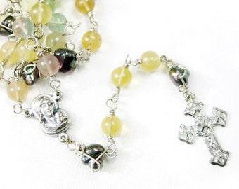 Rainbow Fluorite Pearl Silver Rosary Necklace Pastel Yellow Purple Green Gemstone Iris Oil Slick Pearls Filigree Cross Handmade Jewelry