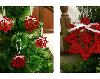 Crochet Red Snowflakes set of 4 Winter Decorations Xmas Tree Decors Wedding Decor Snowflake Ornament Handmade Ornaments Christmas Decor