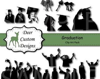 Graduation Silhouettes Clip Art | Graduation Clipart | 18 Digital Graduation PNG | Instant Download | Commercial Use | Graduation Silhouette