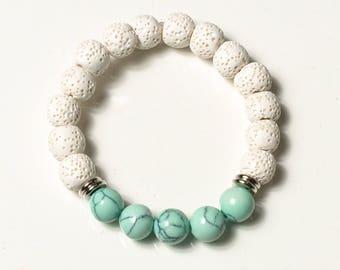 diffuser bracelet, essential oil bracelet, lava bead bracelet, white lava beads, bridetribe, gifts for her, turquoise bracelet