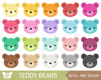 Teddy Bear Clipart, Teddy Bears Clip Art, Cute Cartoon Face Woodland Animal Rainbow Colorful Graphic PNG Download, Commercial Use