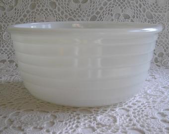 Extra Large Vintage Milk Glass Ribbed Mixing Bowl, Nesting Bowl, All White Vintage Modern Kitchen
