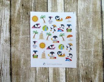 Just Chillin' Deco stickers, Beach penguins, Summer penguins, Beach deco, penguins, summer stickers