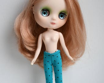 Little polka dot turquoise tights for Lati Yellow, Kiddie Blythe or Pukifee dolls