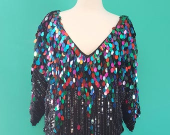 Vintage 1980s Swee Lo Sequin Beaded top