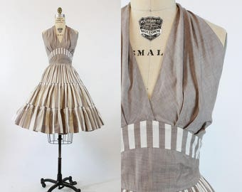 50s Dress Halter Small Medium / 1950s Cotton Dress Full Skirt  /  Awning Stripe Dress