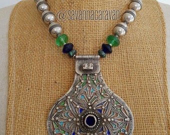 Dramatic silver enamel pendant Essaouria Morocco with azurite beads, Silver Turkmen and vintage Vaseline Bohemia beads N171