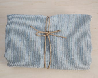 Soft linen bath towel 100% pure linen fabric bath sheet Natural and light blue very narrow printstripes Stonewashed Linen towel Spa towel