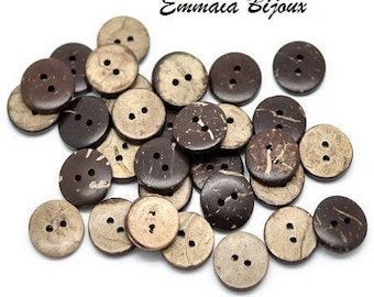 12 buttons 15 mm Brown coconut shell