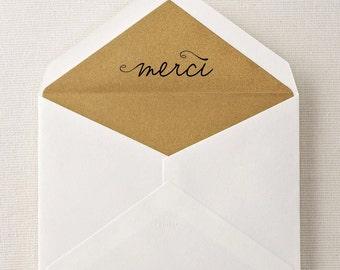 Merci Stamp, Calligraphy Stamp, Custom Rubber Stamp, Merci Rubber Stamp, Wood Handle or Self Inking