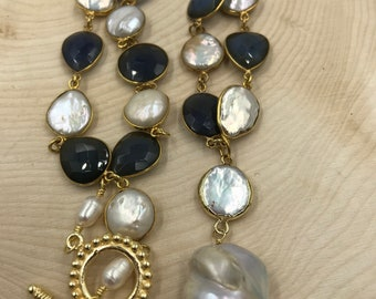 Blue Chalcedony and Pearl Bezel Chain Necklace with Baroque Pearl Pendant