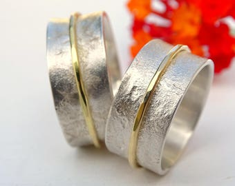 silver gold wedding rings, viking wedding bands, matching ring set his and hers, celtic engagement ring set, molten wedding rings lace