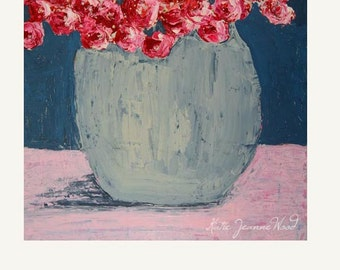 Blue & Rose Quartz Pink Roses Flower Painting Print. Cottage Chic Decor Floral Print. Romantic Art Gifts for Her. 139