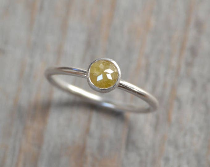 Rose Cut Diamond Engagement Ring, 0.50ct Yellow Diamond Solitaire, Stackable Diamond Ring, Diamond Wedding Ring, Fancy Color Diamond Ring