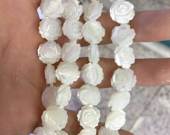 8mm Mother Of Pearl Beads, Double Sided Flower Beads, Shell Flower Beads, Shell Jewelry