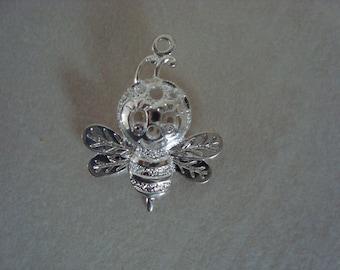 Silver bee pendant charm
