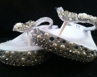 Darcy Bridal Flip Flops, Custom Wedge Flip Flops, Platform Flip Flops, Bridal Wedge Sandals, Wedding Flip Flops, Wedge Bridal Shoes