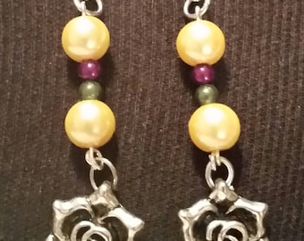 Mardi gras rose earrings