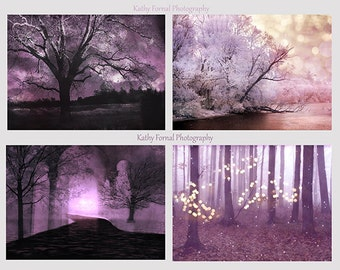 Nature Photography, Purple Lavender Trees Wall Art Prints, Baby Girl Nursery Decor, Fairy Lights Woodlands, Fantasy Nature Tree Prints Decor