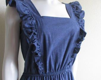 vintage 1980s QW Avant Garde sleeveless prairie denim dress- s/m