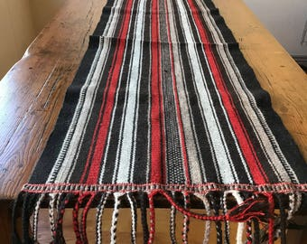 South American Table Runner, Hand Woven Wool, Braided Fringe, Large Runner- 18 x 50, Wall Hanging, Vintage Farmhouse