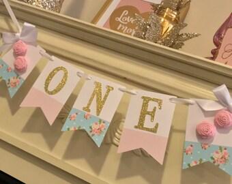 Shabby Chic Banner . Shabby Chic  Decor . Shabby chic Birthday Banner, First Birthday Girl High Chair Banner