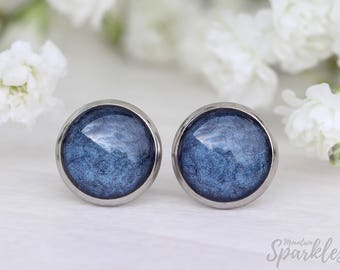 Navy earrings, Navy blue stud earrings, Navy blue studs, Dark blue earrings, Mom daughter gift, Everyday earrings navy, Simple studs navy