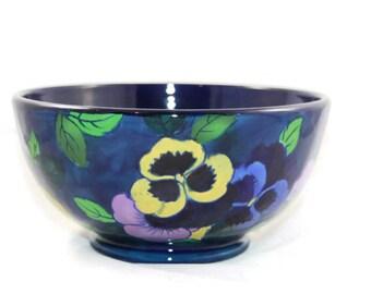 Vintage Royal Stanley Jacobean Ware Bowl Cobalt Blue Pansies Art Nouveau