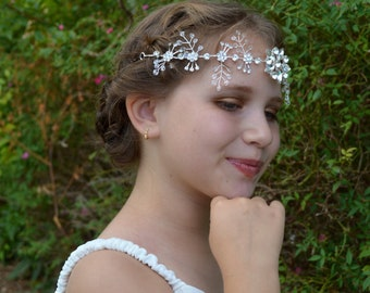 Beautiful Swarovski Crystal Beaded Snowflake Bridal Tiara Wedding Hair Vine
