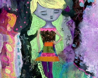 """Giclee Print - Neon 5"""" x 7"""" Colorful Collage Art, Playful Inspirational Girl Decor, Encouraging Healing Wall Art - """"You Are Not Too Much"""""""