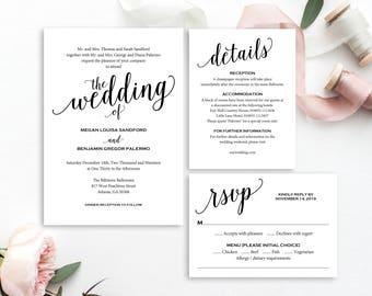 Wedding Invitation, Wedding Invitation Template, Wedding Invite Printable, Wedding Template, Invitation, Script, Instant Download, MM01-1