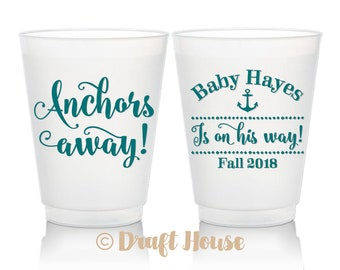 Anchors Away Baby Shower Cups, Anchors Aweigh, Nautical Baby Shower, Baby Girl Shower, Beach Baby Shower, Plastic Cups, 16oz Frosted Cups