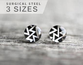 Geometric earring stud, surgical steel earring stud, black and white earring post,  minimalist earrings, elegant earrings, gift for her