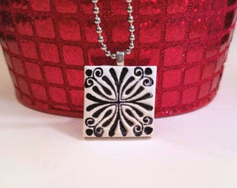 Black and White Abstract Necklace, Contemporary Jewelry, Stamped Ink Pendant, handmade polymer clay