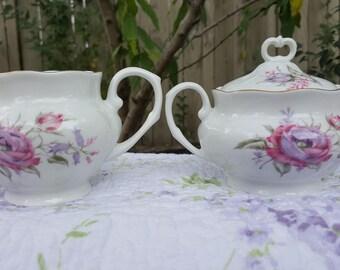Vintage Favolina sugar bowl and creamer set, pink and lavender floral pattern