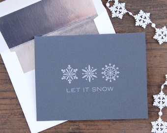 Let It Snow Letterpress Greeting Card Set of 6