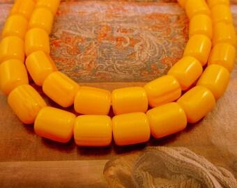 12 Faux golden amber beads Indonesian buddhist mala beads 12mm x 11mm opaque yellow tube prayer beads Bus4134(C1C7),