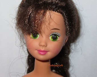 Vintage Skipper Doll from 1980s Mattel Barbies Sister Brown Hair Green Eyes Collectible Gift or for Doll Customization OOAK Repaint Reroot