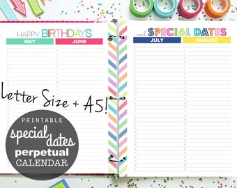 Perpetual Calendar Planner, Printable, Special Dates - INSTANT DOWNLOAD - Birthdays, Anniversaries, Letter + A5