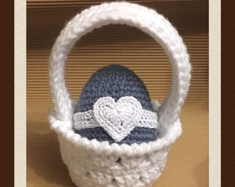 Littlebits Crocheted White Decorative Easter Basket with Blue Egg - Made & Posted in Australia RTS