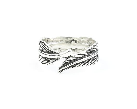 Sterling Silver Feather Ring, Western Ring, Festival, Spiritual, Boho Ring, Gypsy Ring, Stacking Ring