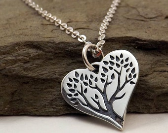 Silver Heart Tree of Life necklace / Tree of Life Heart Pendant / Sterling silver Heart Tree pendant / Sterling heart / Valentines Day