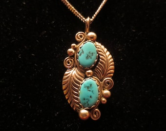 """Vintage Turquoise and Sterling Silver Handcrafted Leaf Pendant Necklace with 24"""" Chain"""
