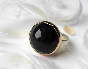 Black Onyx faceted Gemstone Ring, Handmade stone ring with Recycled silver and gold